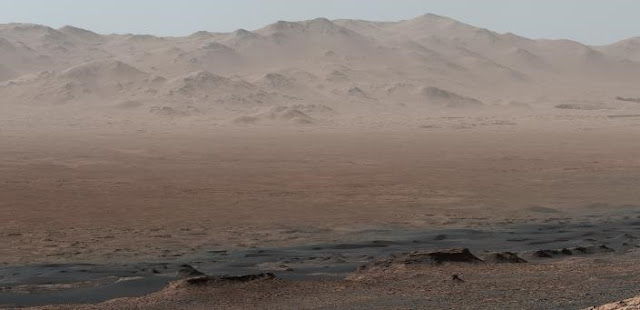 Panorama of Gale crater on Mars taken from Vera Rubin ridge provided courtesy of NASA/JPL-Caltech/MSSS.