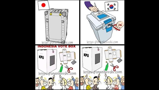 Selain Sindir Utang Proyek MRT, Kartunis Jepang Ledek Kotak Suara Kardus KPU
