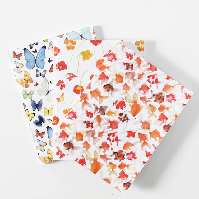 My Giant Strawberry, Notebooks, Watercolors, Surface Pattern Design, Goldfish, Butterflies, Nasturtiums, Anne Butera, Society6