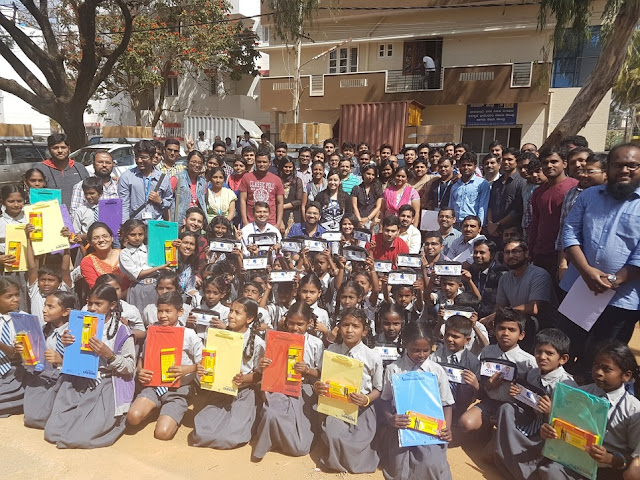 Pic- 1 Government school students rejoicing after receiving School Kits from Samsung