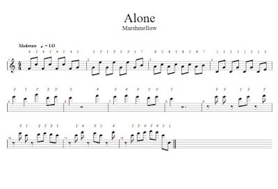 Not Angka Marshmello pianika dan piano