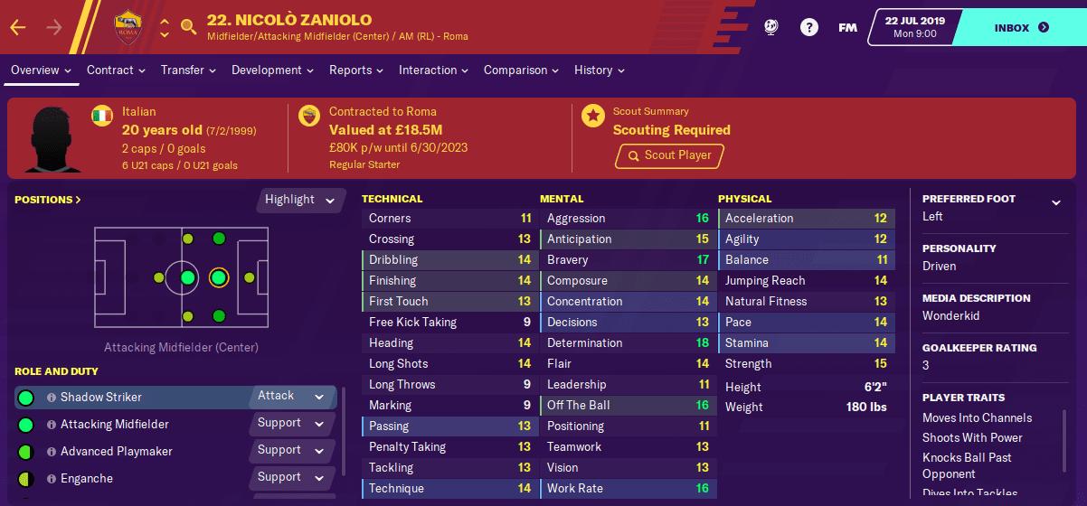 FM20 Wonderkid - Nicolo Zaniolo