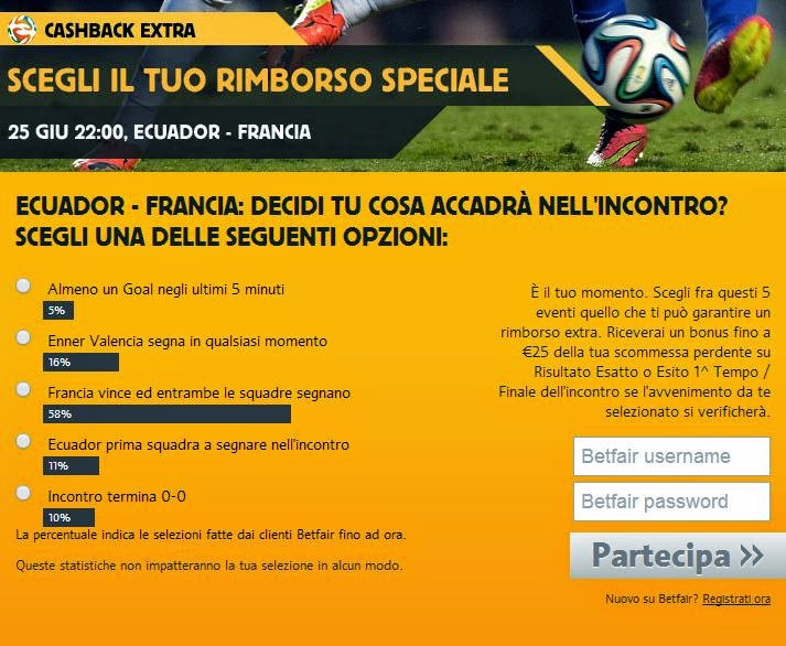 Cashback Extra di Betfair.it