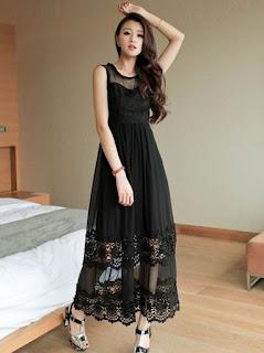 Model Baju Dress Panjang Korean Style