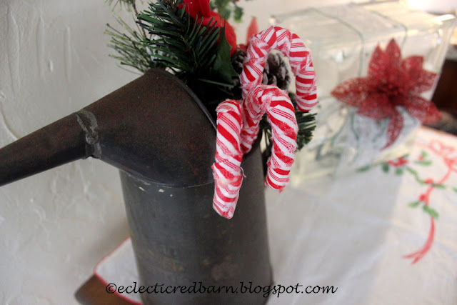 Eclectic Red Barn. Share NOW. #candycanes #christmasdecor #eclecticredbarn  Fabric Covered Candy Canes Decor