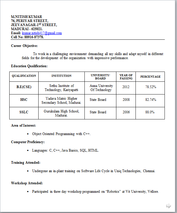 resume format for jobs  template resume format for jobs