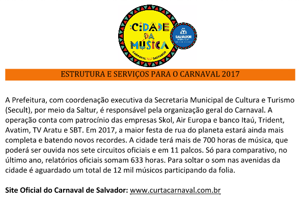 Estrutura e Serviços para o Carnaval de Salvador 2017