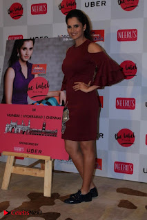Indian Tennis Star Sania Mirza Pos in Red Short Dress at  0023.jpg