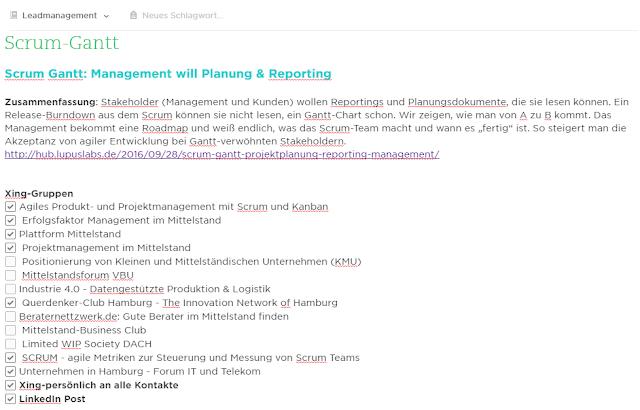 Planung der Content-Distribution in Social Media für B2B, z.B. Xing-Gruppen