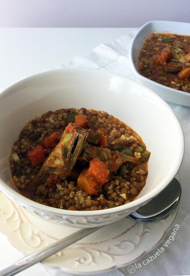 Lentejas con mijo al curry (Vegano)