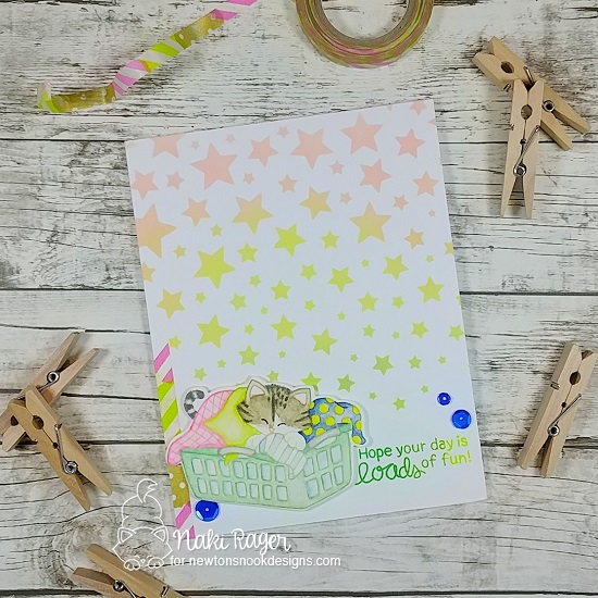 Cat Card with Laundry by Naki Rager | Newton Cleans Up Stamp Set by Newton's Nook Designs #newtonsnook #handmade