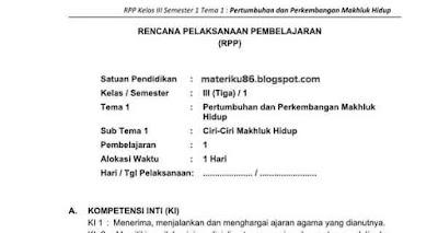 Rpp Kelas 3 Sd Kurikulum 2013 Revisi 2018 Semua Tema Materiku