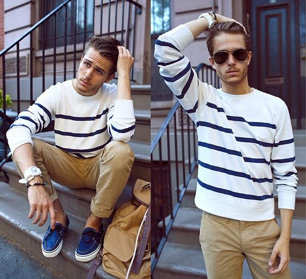 look masculino com suéter listrado