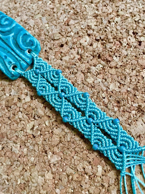 New macrame pattern in turquoise.