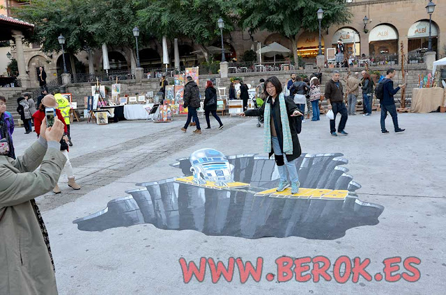 graffiti dibujo 3d suelo star wars