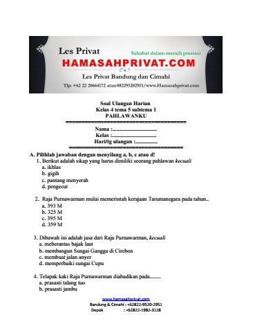 Soal Uh Kelas 4 Tema 5 Subtema Pahlawanku Bank Soal Hamasahprivat Com