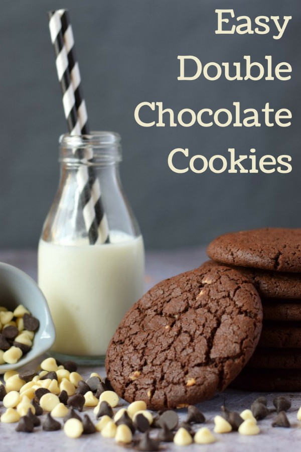 How to make quick and easy double chocolate cookies, made with white chocolate chips and melted semi dark chocolate to produce a cookie which is incredibly yummy and satisfying.