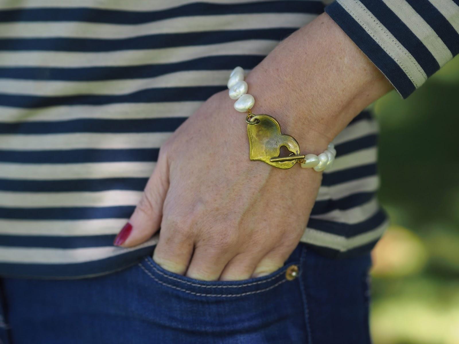 Danon freshwater pearl and bronze heart bracelet