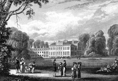 Kensington Palace from the East Side of the Basin  from Views in Kensington Gardens by J Sargeant (1831)