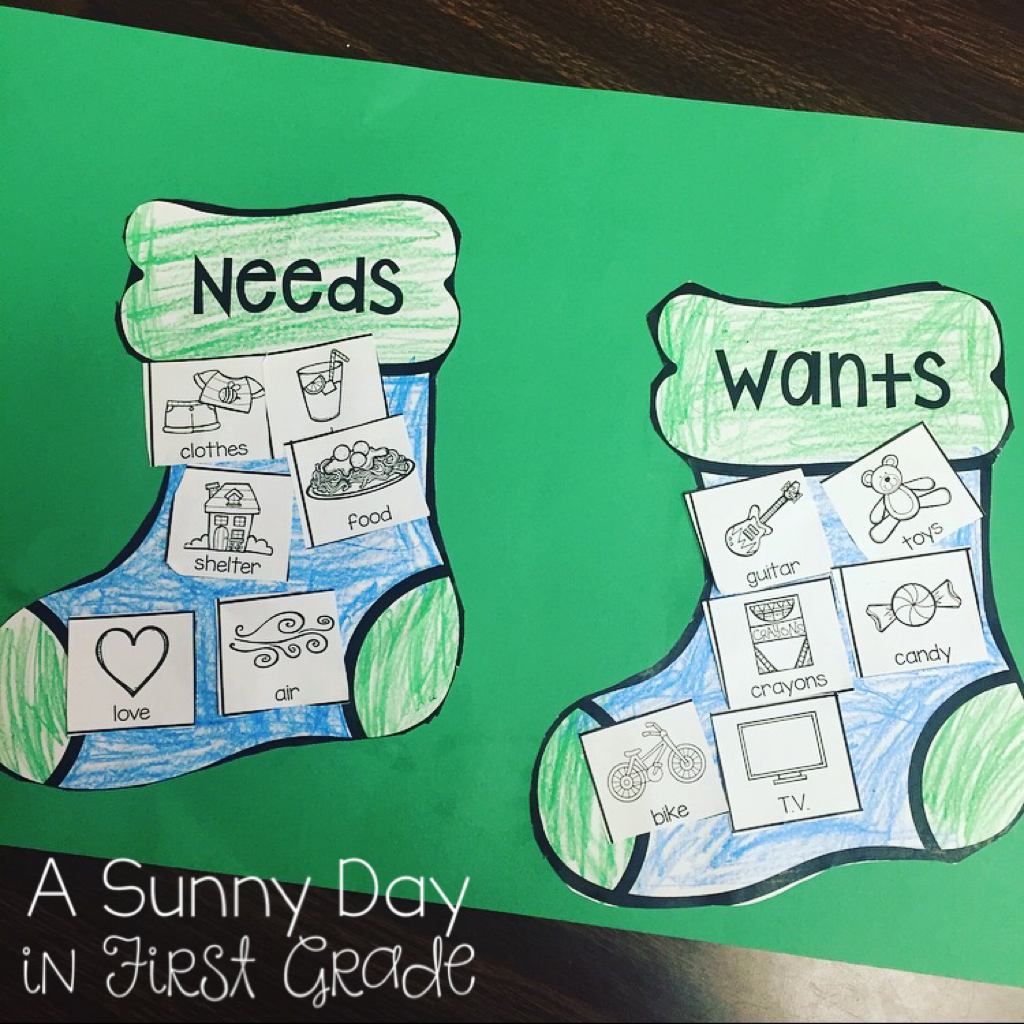 A Sunny Day In First Grade Needs Amp Wants Stockings