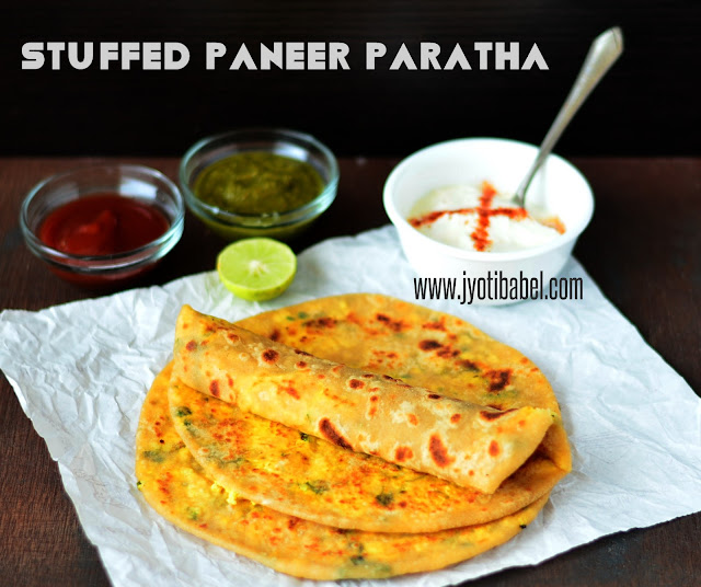 These paneer parathas are stuffed with a filling prepared out of freshly prepared paneer and some spices. Served with an array of chutneys and a bowl full of yoghurt, it is protein packed in a vegetarian meal.