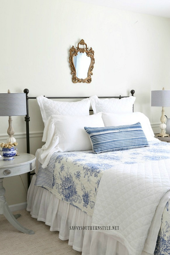blue and white French style guest bedroom