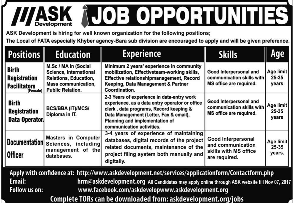 Jobs In ASK Development Company Fata Oct 2017