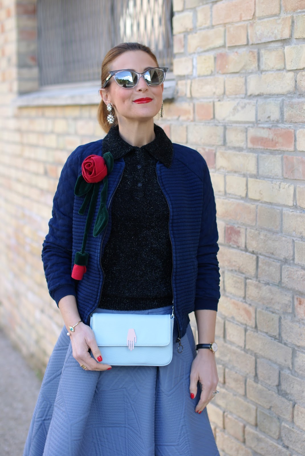 Valentine's day romantic outfit with bomber jacket, Lazzari bag, asymmetrical midi skirt, red roses handmade brooch on Fashion and Cookies fashion blog, fashion blogger style