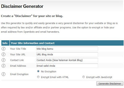 Generate disclaimer blog