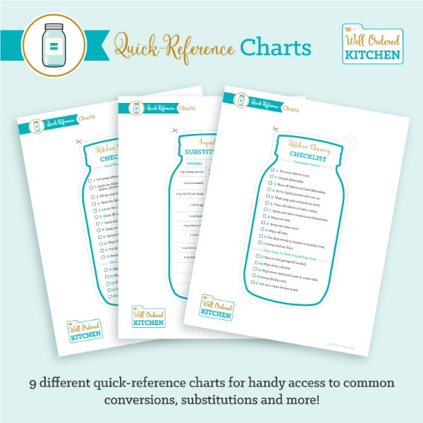 Quick Reference Charts from The Well Ordered Kitchen Planner.