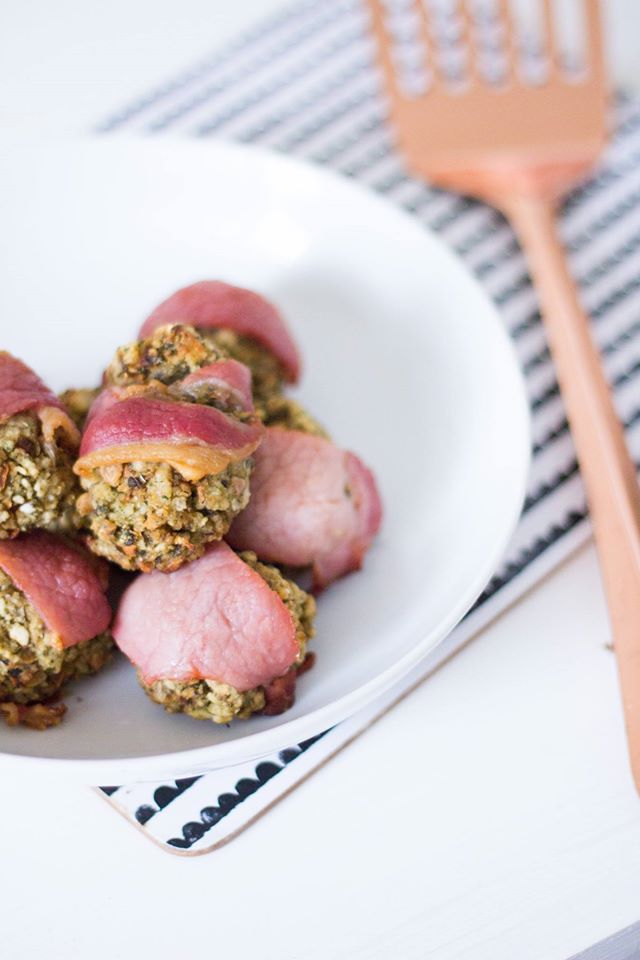 Easy Bacon Wrapped Stuffing Balls Christmas Side Dinner Recipe