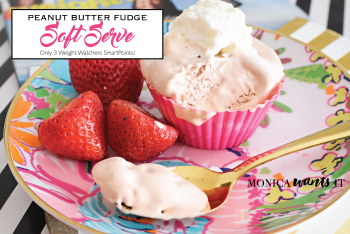 Peanut Butter Fudge Soft Serve recipe that contains three ingredients and is only three Weight Watchers SmartPoints! Perfect treat for any day of the week.