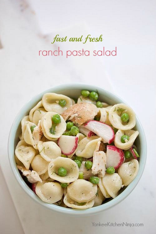 fast and fresh ranch pasta salad from YankeeKitchenNinja.com