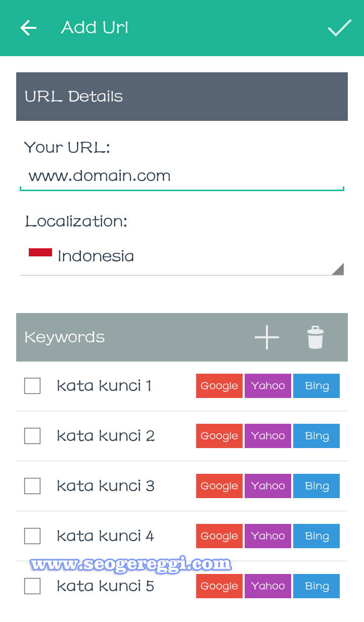 Contoh Menu Add Url Seo Serp Mojo Rank Tracker