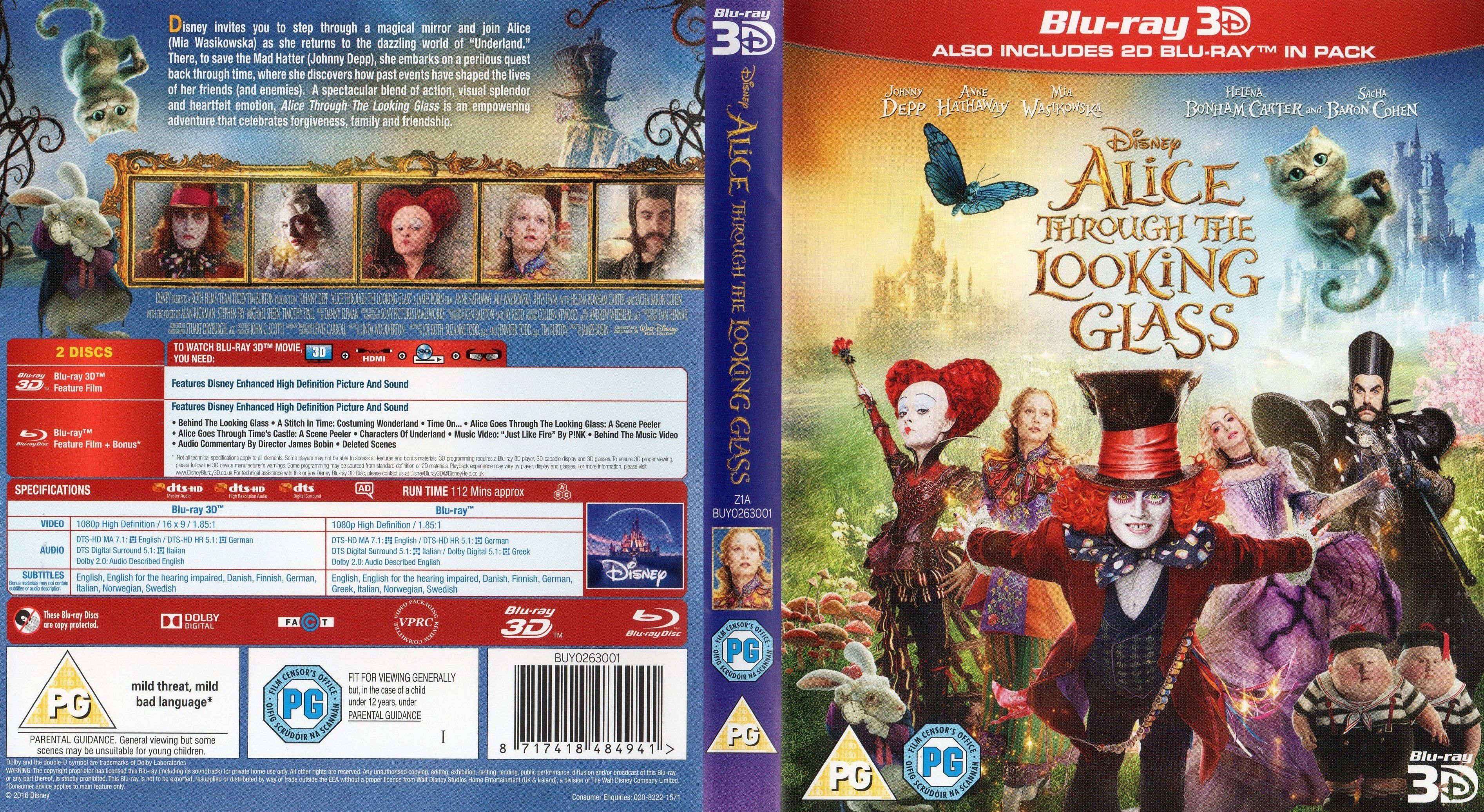 Alice Through The Looking Glass Bluray Cover - Cover -9503