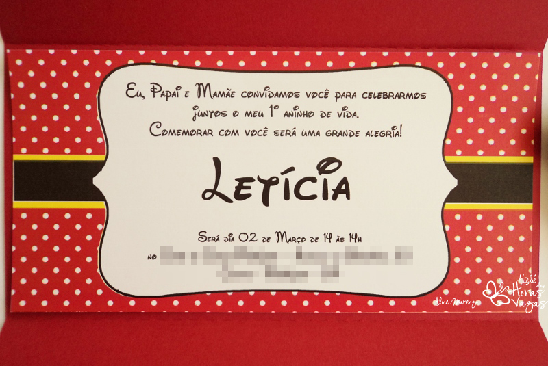Ateliê Das Horas Vagas Aline Barbosa Convite Minnie Mouse Vermelho