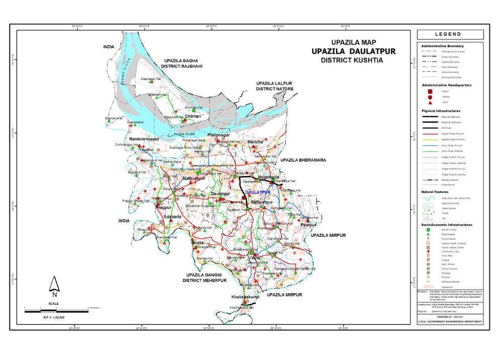 Daulatpur Upazila Map Kushtia District Bangladesh