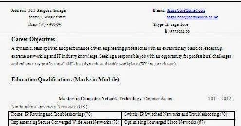 cisco certified resume format