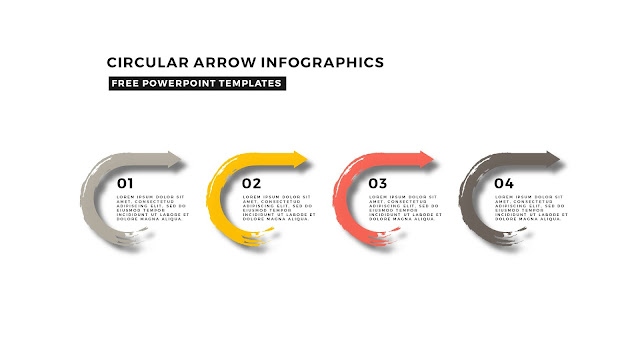 Circular Brush Stroke and Arrow Infographic Free PowerPoint Template Slide 9