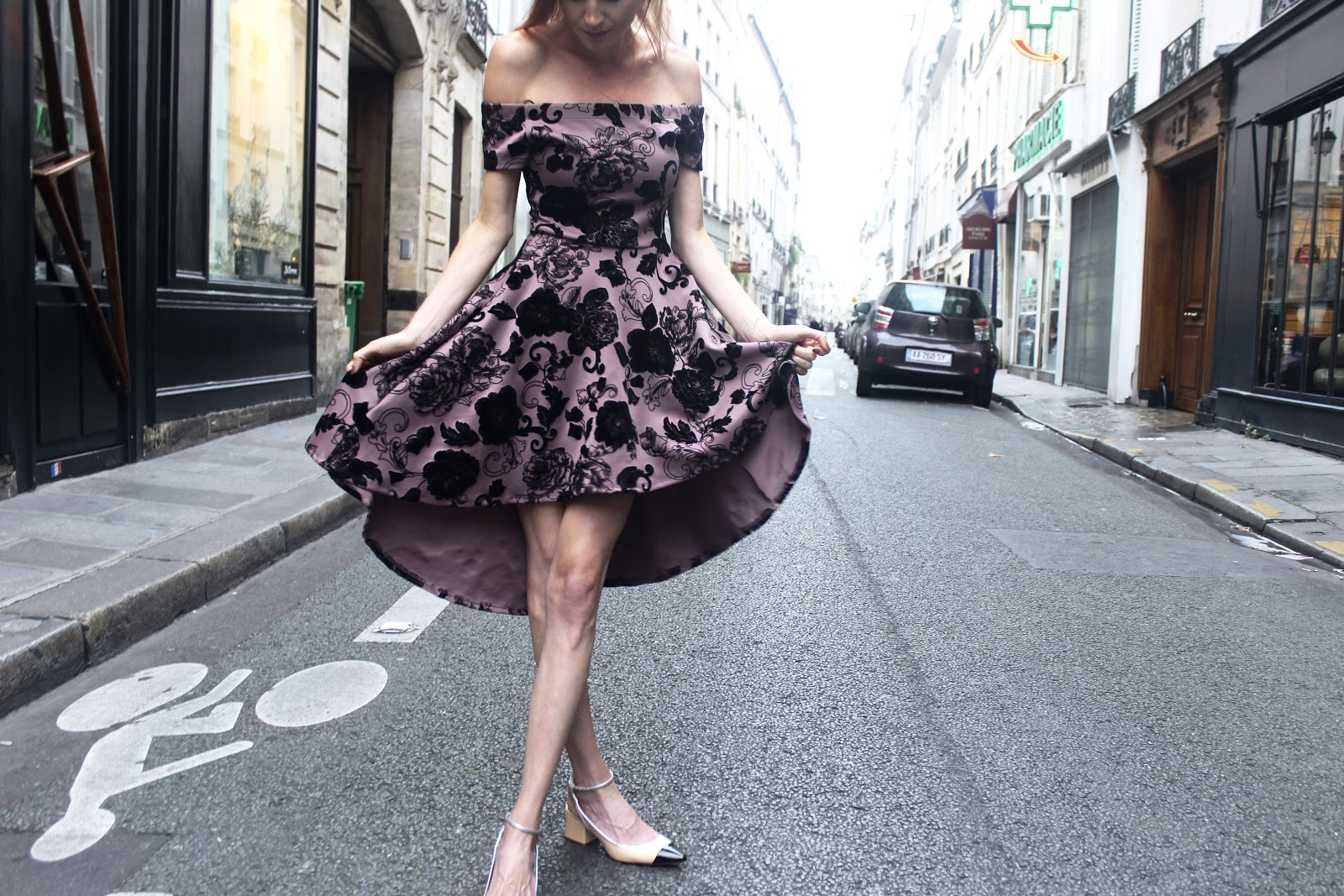 Fall Paris street style, black velvet floral dress, low Zara kitten heels