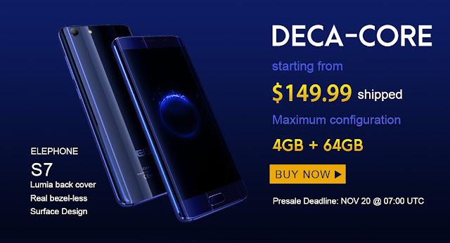 【新製品情報】Elefoneから149ドルからHelio X20搭載の某S7 EdgeそっくりのベゼルレスElephone S7が登場!
