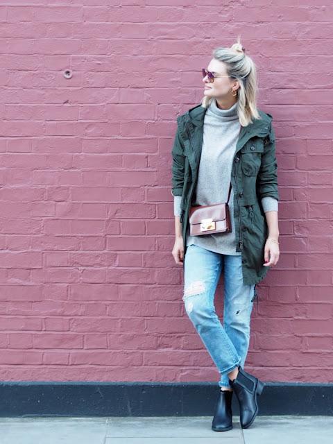 parka, parka london, autumn staples, atumn outfit, chelsea boots, black boots, boyfriend jeans