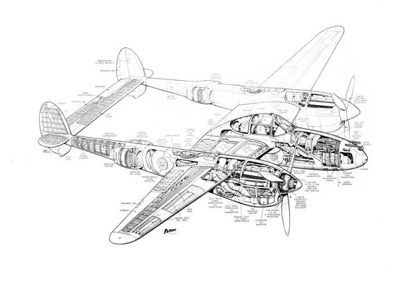 P-38 worldwartwo.filminspector.com cutaway drawing