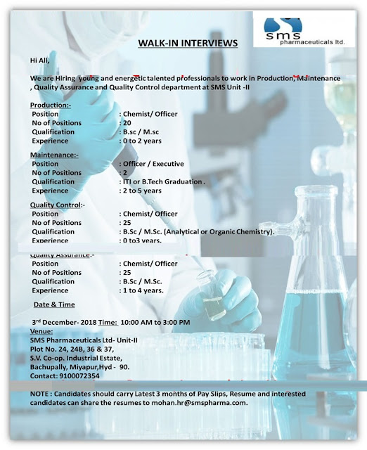 SMS Pharmaceuticals Ltd Walk In Interview Gor Multiple Positions (72 Position) Quality Assurance, Quality Control, Production, Maintenance at 3 Dec.