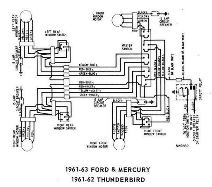 windows wiring diagram for 1961 63 ford mercury and 1961 62 rh diagramonwiring blogspot com 1963 Thunderbird 1968 thunderbird wiring diagram