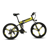 Cyrusher XF700 26 Inch Folding Electric Mountain Bike with Full Suspension, with 250w brushless hub motor, 36v 10.4Ah lithium battery, full electric mode and 5 pedal assist modes, speeds up to 18-22 mph, distance range 28-37 miles