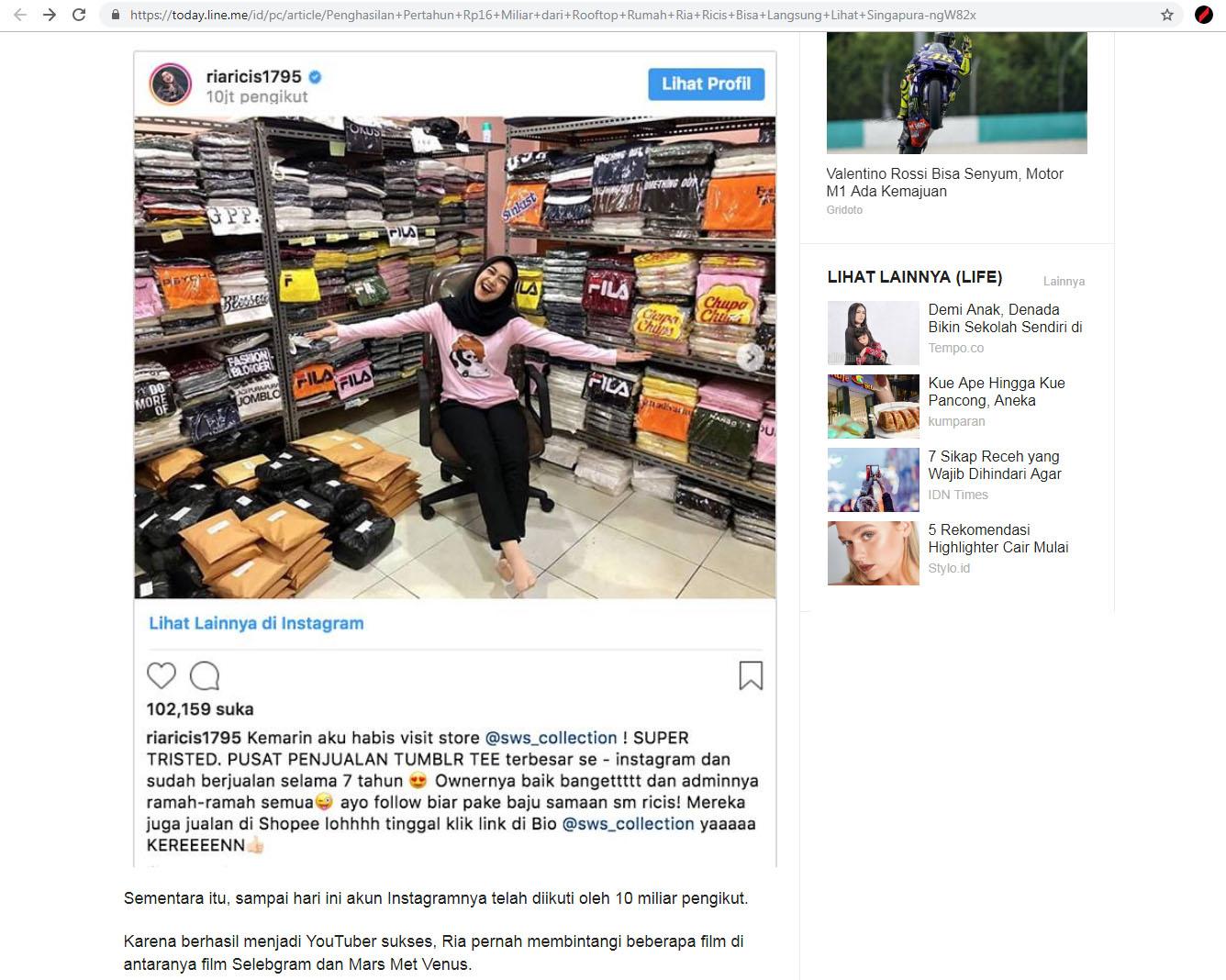 berita hiburan artis selebriti instagram selebgram youtuber penghasilan pendapatan berapa online media ria ricis kekayaan rumah penulis medsos media sosial endorse produk dari mana terkenal ngehits saat ini