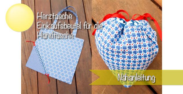 Nähanleitung für einen Einkaufsbeutel mit Herz für die Handtasche
