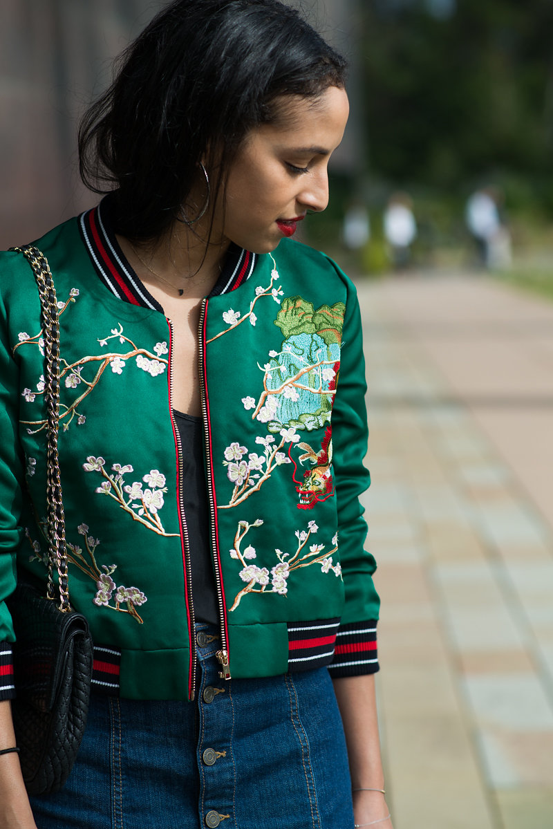 Allergic to Vanilla- SF style blog, Zaful, Flower embroidery bomber jacket, editorial photography, shadows, red lipstick, gap denim mini skirt,