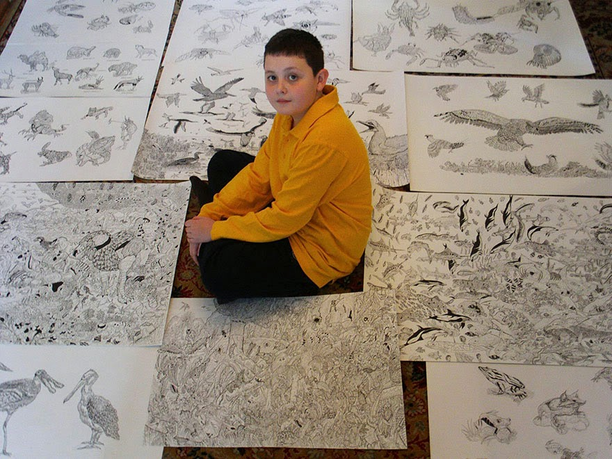 Child Prodigy Dušan Krtolica's detailed artwork